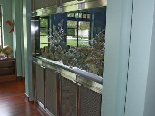 side view of stainless steel aquarium tank
