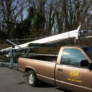 sailboat rig on trailer, with truck